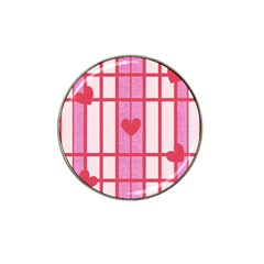 Fabric Magenta Texture Textile Love Hearth Hat Clip Ball Marker (4 Pack)