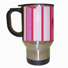 Fabric Magenta Texture Textile Love Hearth Travel Mugs (White)