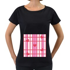 Fabric Magenta Texture Textile Love Hearth Women s Loose-Fit T-Shirt (Black)