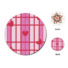 Fabric Magenta Texture Textile Love Hearth Playing Cards (Round)