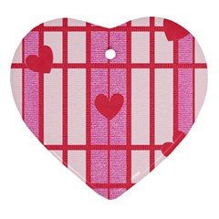 Fabric Magenta Texture Textile Love Hearth Heart Ornament (Two Sides)