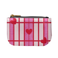 Fabric Magenta Texture Textile Love Hearth Mini Coin Purses