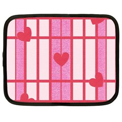 Fabric Magenta Texture Textile Love Hearth Netbook Case (XL)