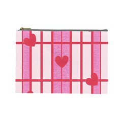 Fabric Magenta Texture Textile Love Hearth Cosmetic Bag (Large)