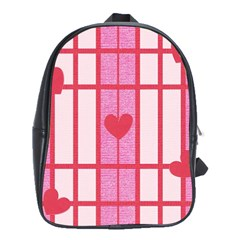 Fabric Magenta Texture Textile Love Hearth School Bags(Large)