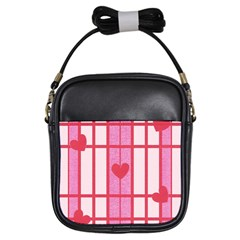 Fabric Magenta Texture Textile Love Hearth Girls Sling Bags