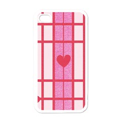 Fabric Magenta Texture Textile Love Hearth Apple Iphone 4 Case (white)