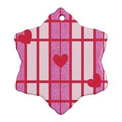 Fabric Magenta Texture Textile Love Hearth Ornament (snowflake)