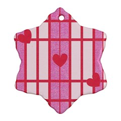 Fabric Magenta Texture Textile Love Hearth Snowflake Ornament (two Sides)