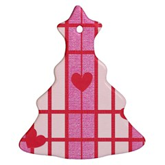 Fabric Magenta Texture Textile Love Hearth Christmas Tree Ornament (Two Sides)