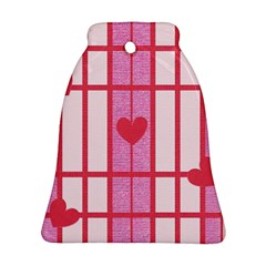 Fabric Magenta Texture Textile Love Hearth Bell Ornament (Two Sides)