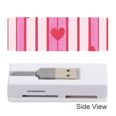Fabric Magenta Texture Textile Love Hearth Memory Card Reader (Stick)