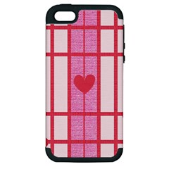 Fabric Magenta Texture Textile Love Hearth Apple iPhone 5 Hardshell Case (PC+Silicone)