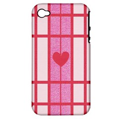 Fabric Magenta Texture Textile Love Hearth Apple iPhone 4/4S Hardshell Case (PC+Silicone)