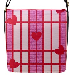 Fabric Magenta Texture Textile Love Hearth Flap Messenger Bag (S)