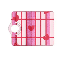 Fabric Magenta Texture Textile Love Hearth Kindle Fire HD (2013) Flip 360 Case