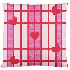 Fabric Magenta Texture Textile Love Hearth Large Flano Cushion Case (one Side)