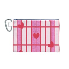 Fabric Magenta Texture Textile Love Hearth Canvas Cosmetic Bag (M)