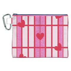 Fabric Magenta Texture Textile Love Hearth Canvas Cosmetic Bag (XXL)