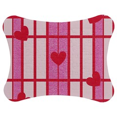 Fabric Magenta Texture Textile Love Hearth Jigsaw Puzzle Photo Stand (bow)