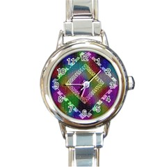 Embroidered Fabric Pattern Round Italian Charm Watch