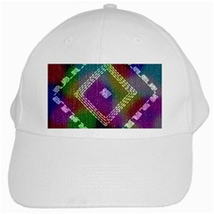 Embroidered Fabric Pattern White Cap