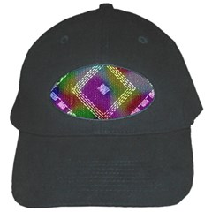 Embroidered Fabric Pattern Black Cap