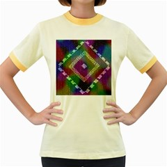 Embroidered Fabric Pattern Women s Fitted Ringer T Shirts