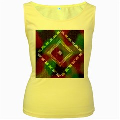 Embroidered Fabric Pattern Women s Yellow Tank Top