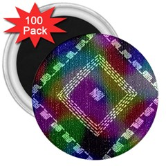 Embroidered Fabric Pattern 3  Magnets (100 Pack)