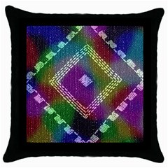 Embroidered Fabric Pattern Throw Pillow Case (Black)