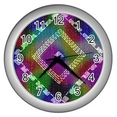 Embroidered Fabric Pattern Wall Clocks (Silver)