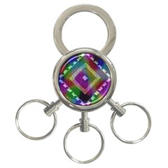 Embroidered Fabric Pattern 3-Ring Key Chains