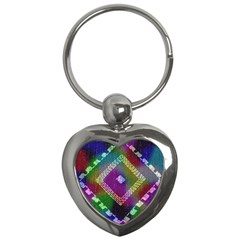 Embroidered Fabric Pattern Key Chains (heart)