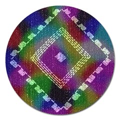 Embroidered Fabric Pattern Magnet 5  (round)