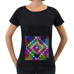 Embroidered Fabric Pattern Women s Loose Fit T Shirt (black)