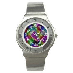 Embroidered Fabric Pattern Stainless Steel Watch