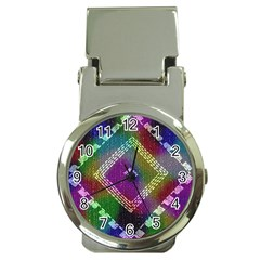Embroidered Fabric Pattern Money Clip Watches