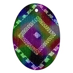 Embroidered Fabric Pattern Oval Ornament (Two Sides)