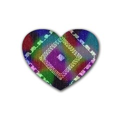 Embroidered Fabric Pattern Heart Coaster (4 pack)
