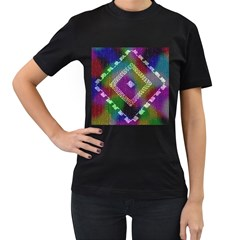 Embroidered Fabric Pattern Women s T Shirt (black)