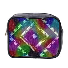 Embroidered Fabric Pattern Mini Toiletries Bag 2-Side