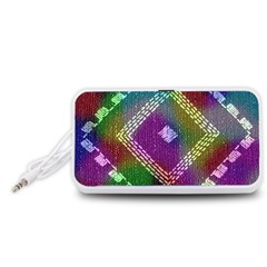 Embroidered Fabric Pattern Portable Speaker (White)