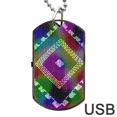 Embroidered Fabric Pattern Dog Tag USB Flash (One Side)