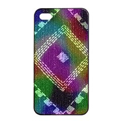 Embroidered Fabric Pattern Apple iPhone 4/4s Seamless Case (Black)