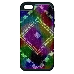 Embroidered Fabric Pattern Apple Iphone 5 Hardshell Case (pc+silicone)