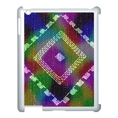 Embroidered Fabric Pattern Apple iPad 3/4 Case (White)