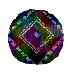 Embroidered Fabric Pattern Standard 15  Premium Round Cushions