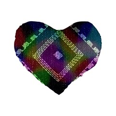 Embroidered Fabric Pattern Standard 16  Premium Heart Shape Cushions