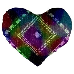 Embroidered Fabric Pattern Large 19  Premium Heart Shape Cushions